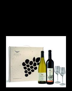 מארז אשכול- גולן מרלו+ירדן שרדונה+2 גביעי יין